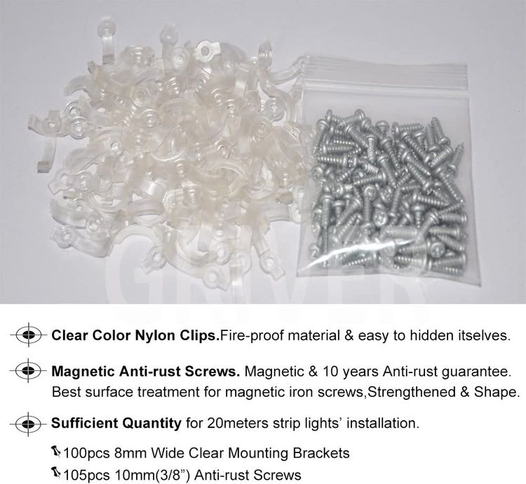 Griver 100 Pack Strip Light Mounting Brackets,Fixing Clips,One-Side Fixing,100 Screws Included (Ideal for 8mm Wide Waterproof Strip Lights)