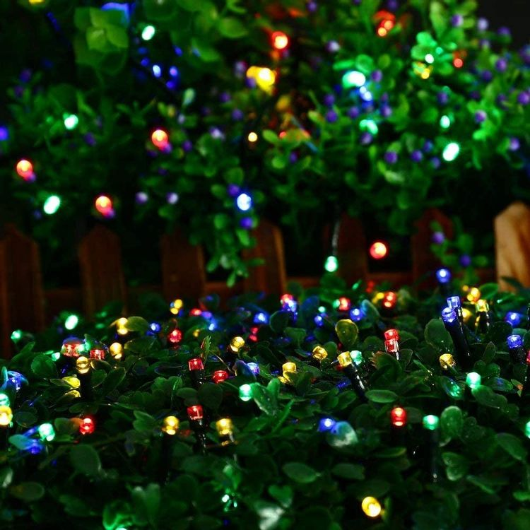 Joomer Solar Christmas Lights, 39ft 100 LED Waterproof Solar String Lights, 8 Modes Fairy Lights for Outdoor, Home, Christmas Tree, Garden, Wedding, Patio, Party, Holiday Decorations (Blue)