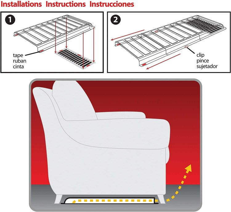 """Deflecto Furniture Deflector Air Vent Extender, Linking Clips and Tape Included, For Use with Floor Registers Up to 11"""" Wide, Clear (UFAD)"""