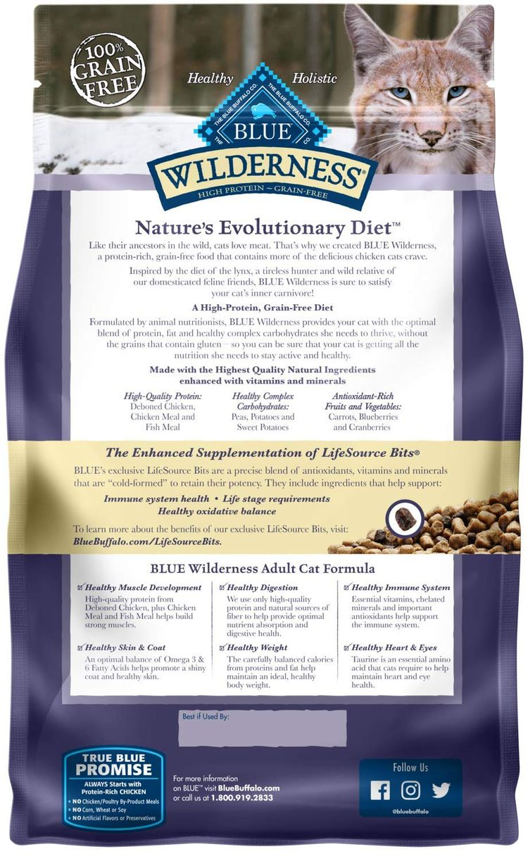 Blue Buffalo Wilderness High Protein Grain Free, Natural Adult Dry Cat Food, Chicken
