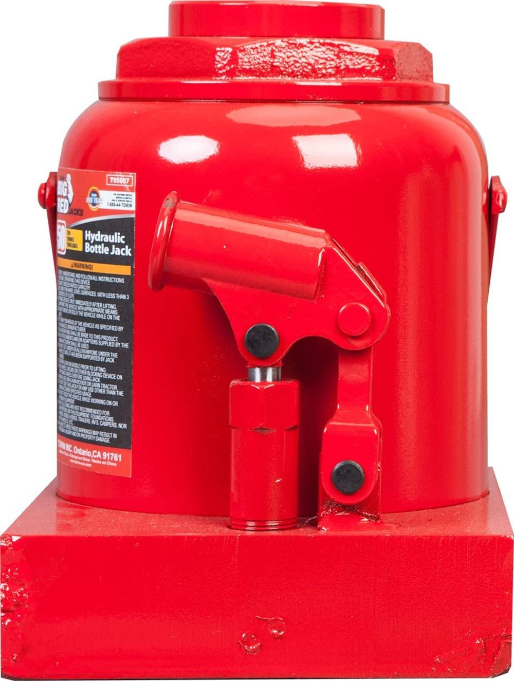 BIG RED T95007 Torin Hydraulic Stubby Low Profile Welded Bottle Jack, 50 Ton (100,000 lb) Capacity