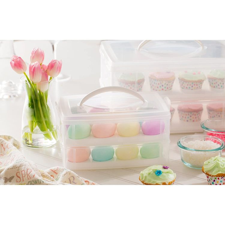 Snapware 1098734 Snap 'N Stack 2-Layer Food Storage Container with Egg Holder Trays, Medium, Clear