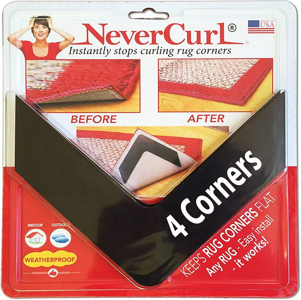 NeverCurl Best V Shape Design Gripper to Instantly Stops Rug Corner Curling. Safe for Wood Floors. for Indoor & Outdoor Rugs - Not an Anti-Slip pad - Made USA - Patented