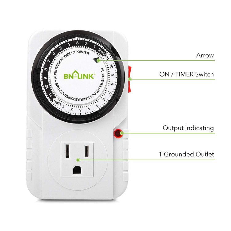 BN-LINK 24 Hour Plug-in Mechanical Timer Grounded, Accurate Heavy Duty, 3-Prong for Lamps Fans Christmas String Lights White AC 1875W 1/2 HP, UL Listed