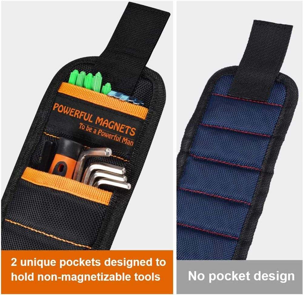 Magnetic Wristband Best DIY Gift - Gifts Tool for Men Magnetic Tool Wristband with 10 Powerful Magnets, Father Carpenter Men Gadgets Gifts Magnetic Wristband for Holding Nails Screws Drill