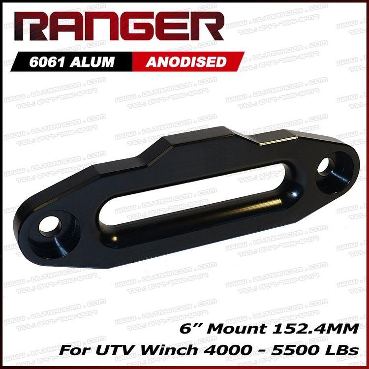 """Ranger UTV Side by Side Aluminum Hawse Fairlead for 4000-5500 LBs UTV Winch 6"""" (152.4MM) Mount by Ultranger Glossy (Black)"""
