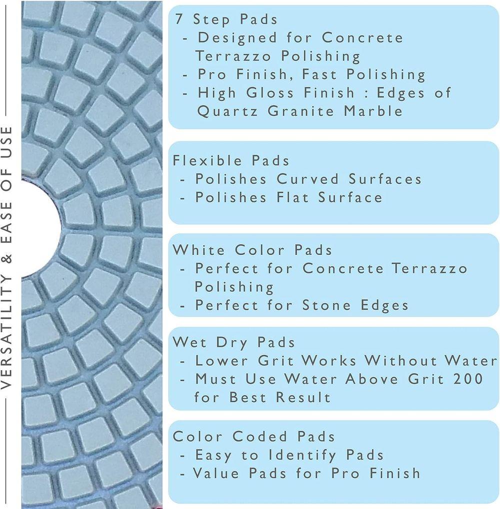 Diamond Polishing Pads 4 inch Wet/Dry 8 Piece Set Granite Stone Concrete Marble