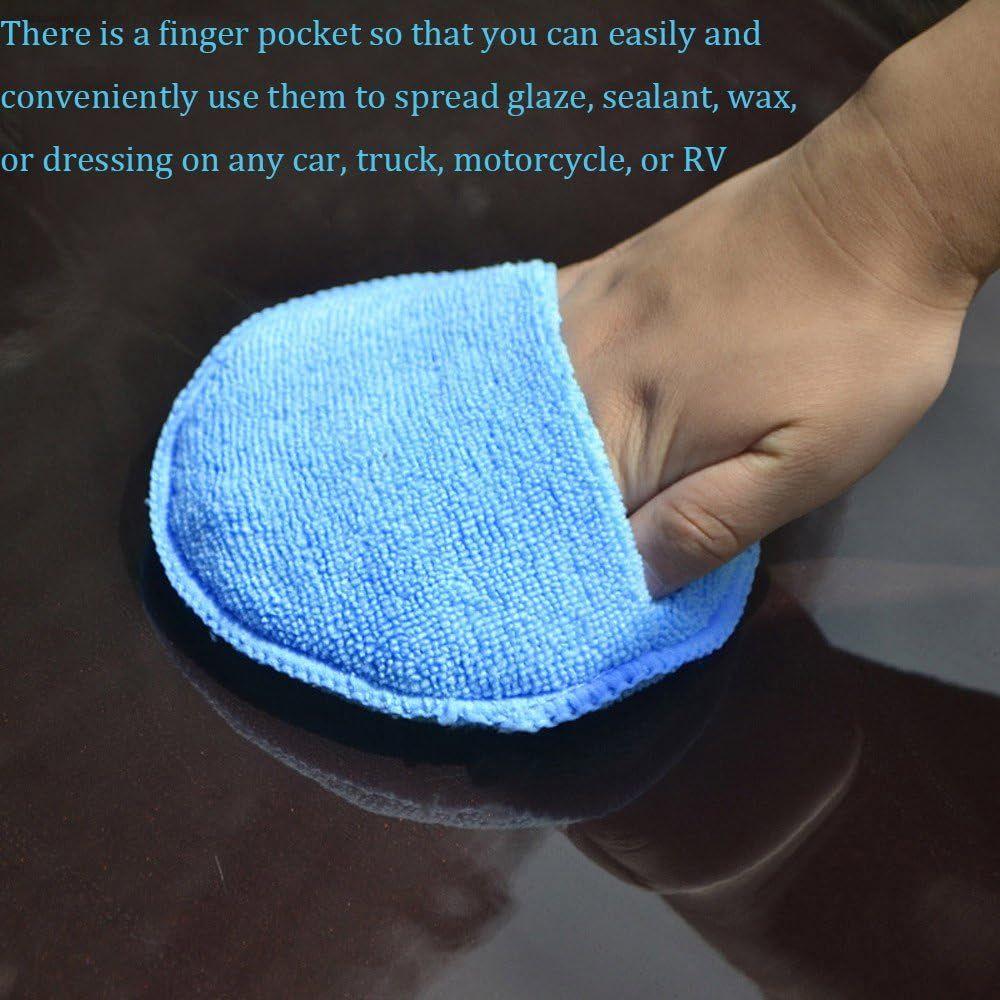 "Microfiber Wax Applicator, AutoCare Ultra-soft Microfiber Wax Applicator Pads with Finger Pocket Wax Applicator for Cars Wax Applicator Foam Sponge (Blue, 5"" Diameter, Pack of 10)"