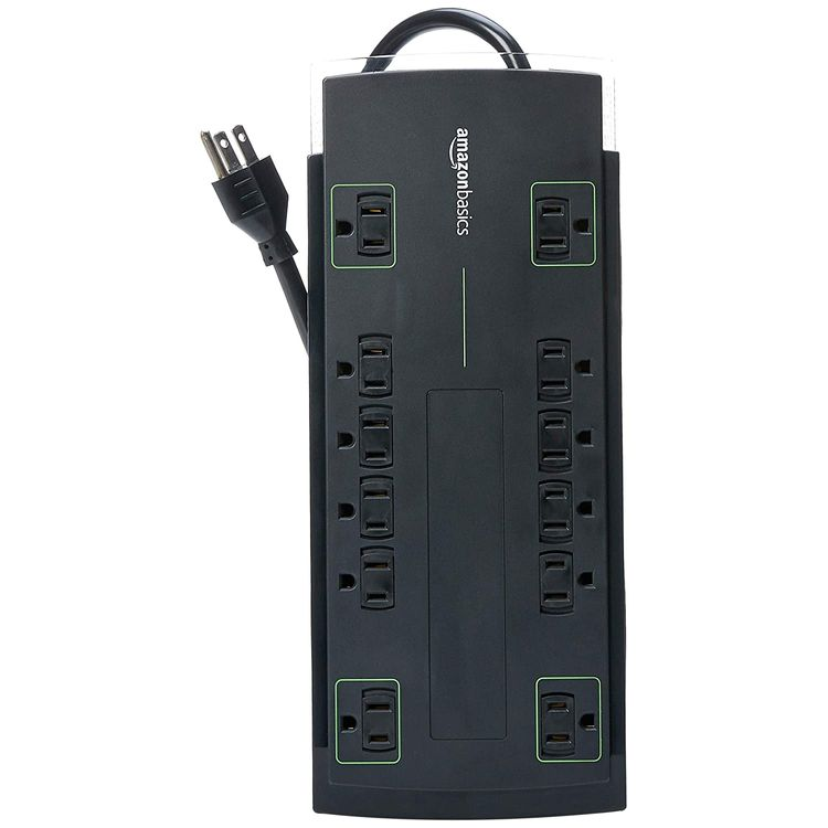 Basics 12-Outlet Power Strip Surge Protector | 4,320 Joule, 8-Foot Cord