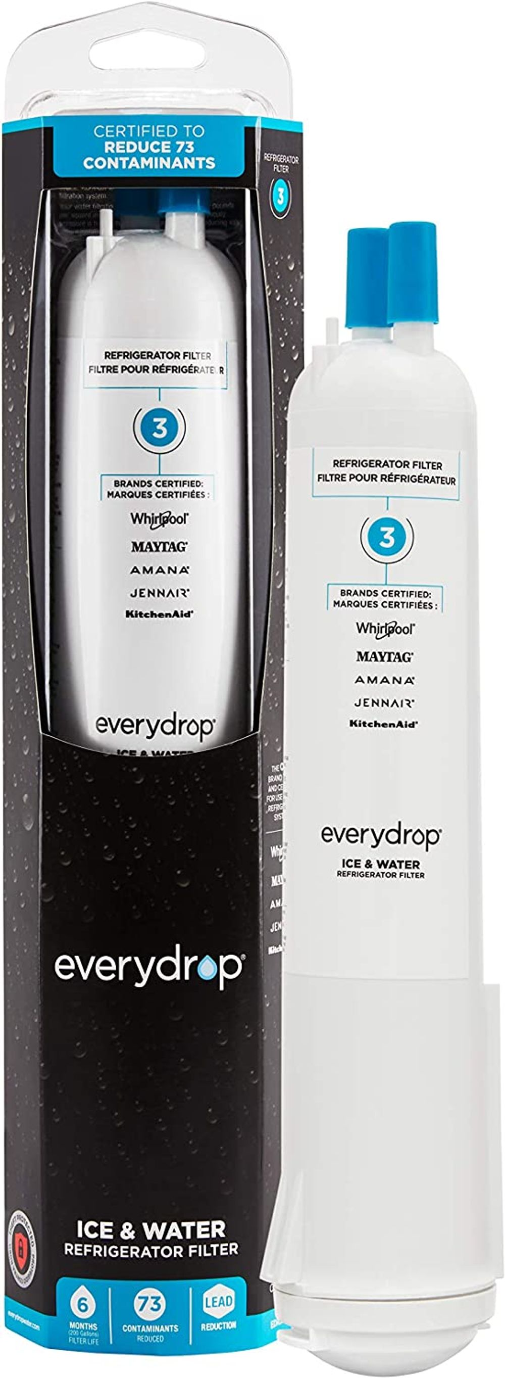 EveryDrop by Whirlpool Refrigerator Water Filter 3, EDR3RXD1 (Pack of 1),White