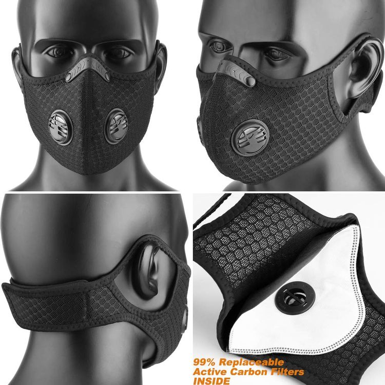 BASE CAMP Dust Breathing Mask Activated Carbon Dustproof Mask with Extra Carbon N99 Filters for Pollen Allergy Woodworking Mowing Running Cycling Outdoor Activities (Black)