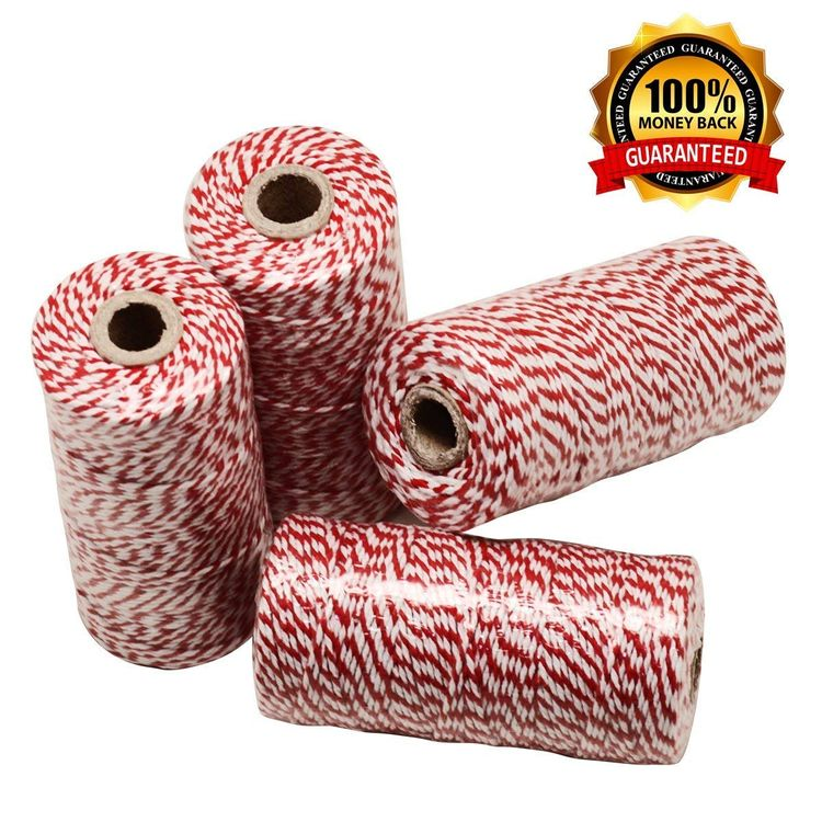 HOKI Cotton Bakers Twine Red & White 100M (328 Feet), Packing String, Durable Rope for Gardening, Decoration, Tying Cake and Pastry Boxes, DIY Crafts & Gift Wrapping, for Art and Craft
