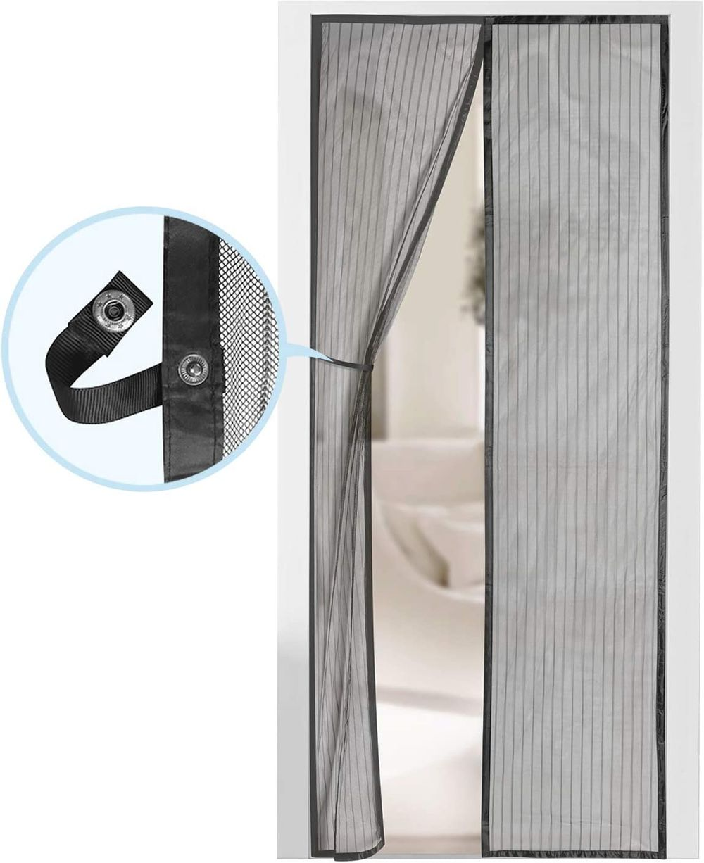 """Magnetic Screen Door - Self Sealing, Heavy Duty, Hands Free Mesh Partition Keeps Bugs Out - Pet and Kid Friendly - Patent Pending Keep Open Feature - 38"""" x 83"""" - by Augo"""