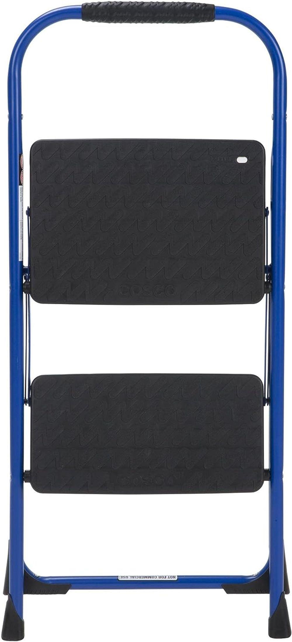 Cosco 11308SWB1E Two, Blue Three Big Folding Step Stool with Rubber Hand Grip