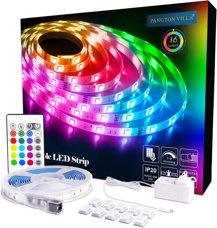 PANGTON VILLA LED Strip Lights 16.4ft RGB 5050LEDs Color Changing Full Kit with 24key Remote Control and Power Supply Mood Lamp for Home Kitchen Christmas, Room Indoor Decorations