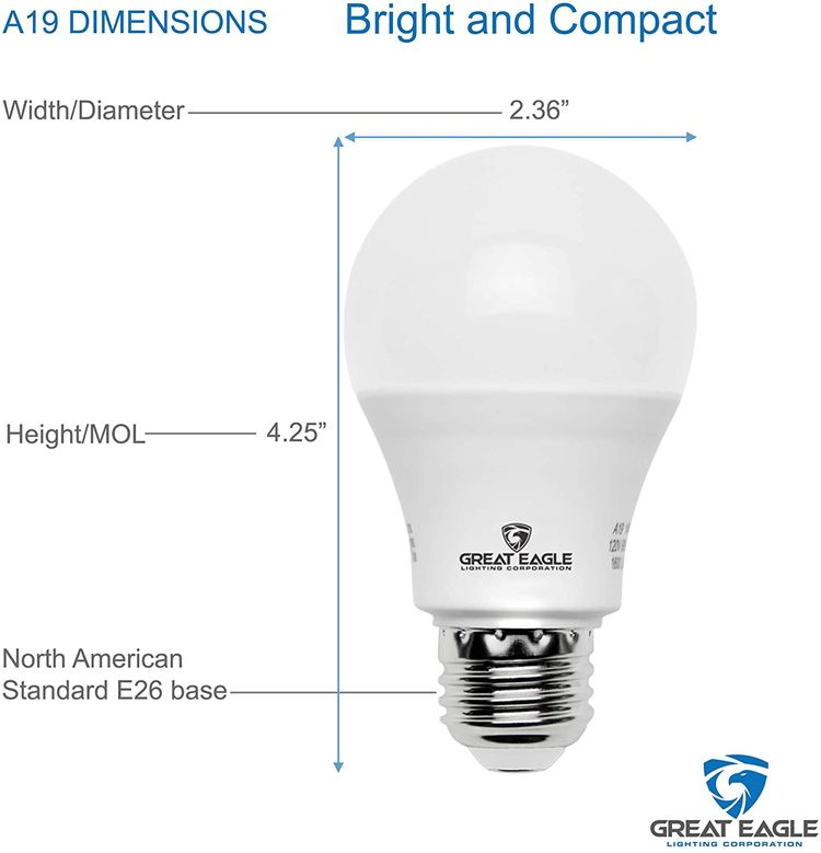 Great Eagle A19 LED Light Bulb, 9W (60W Equivalent), UL Listed, 2700K (Warm White), 800 Lumens, Non-dimmable, Standard Replacement (4 Pack)
