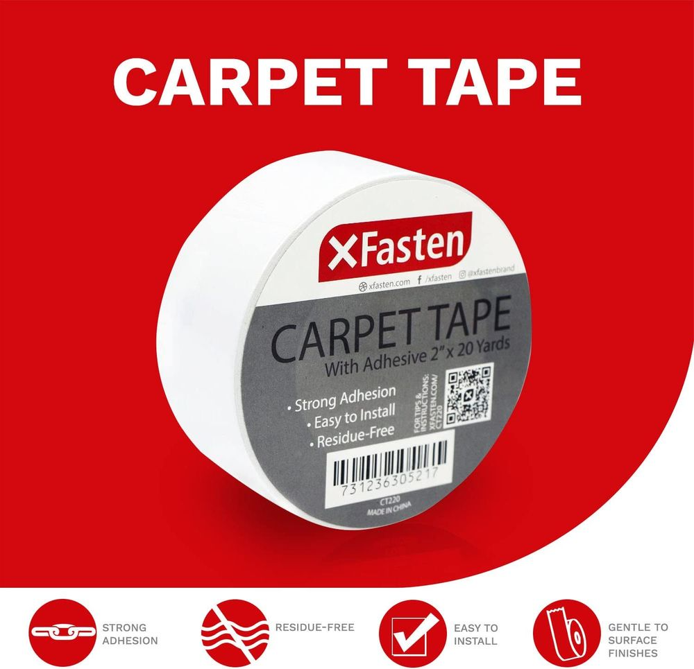 XFasten Double Sided Tape Carpet Tape for Area Rugs and Carpets, Removable, 2 Inches x 20 Yards (3-Pack), Super Strong and Heavy-Duty Rug Tape for Carpet to Floor and Rug to Carpet Applications