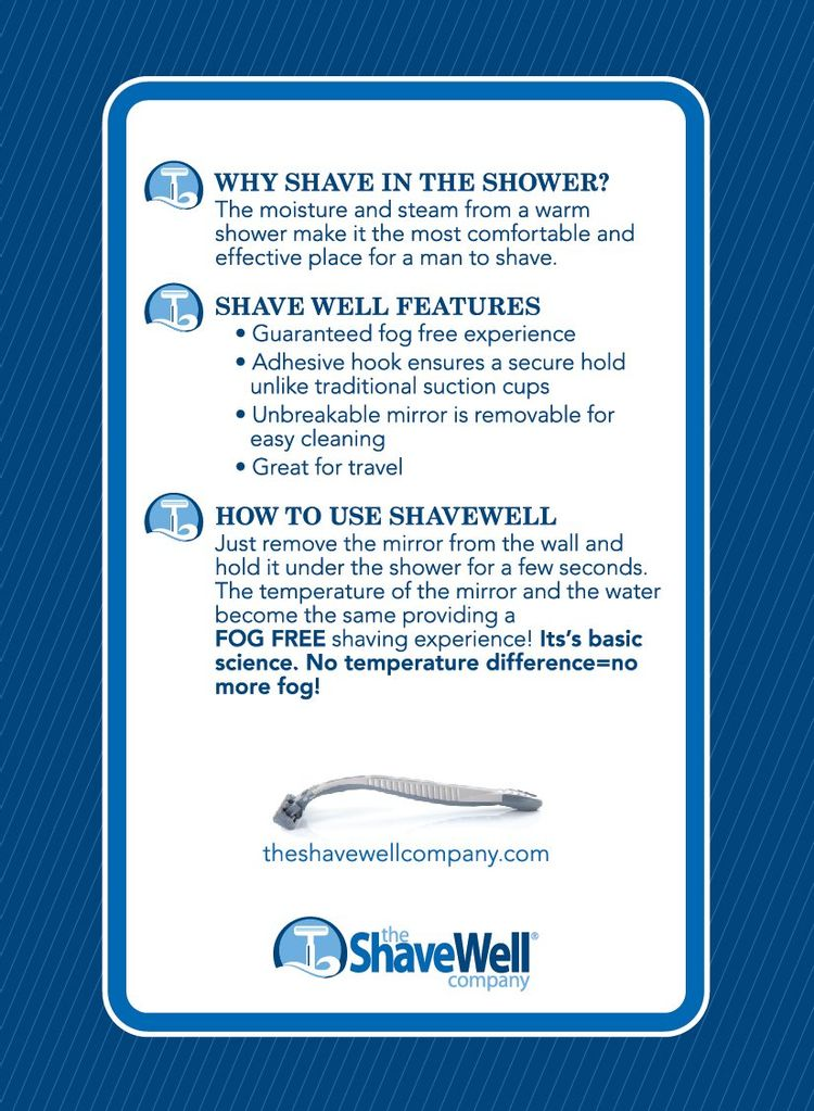 Deluxe Shave Well Shower Mirror for shaving fogless - Made in the USA - 33% larger than the Original Shave Well fogless Shower Mirror