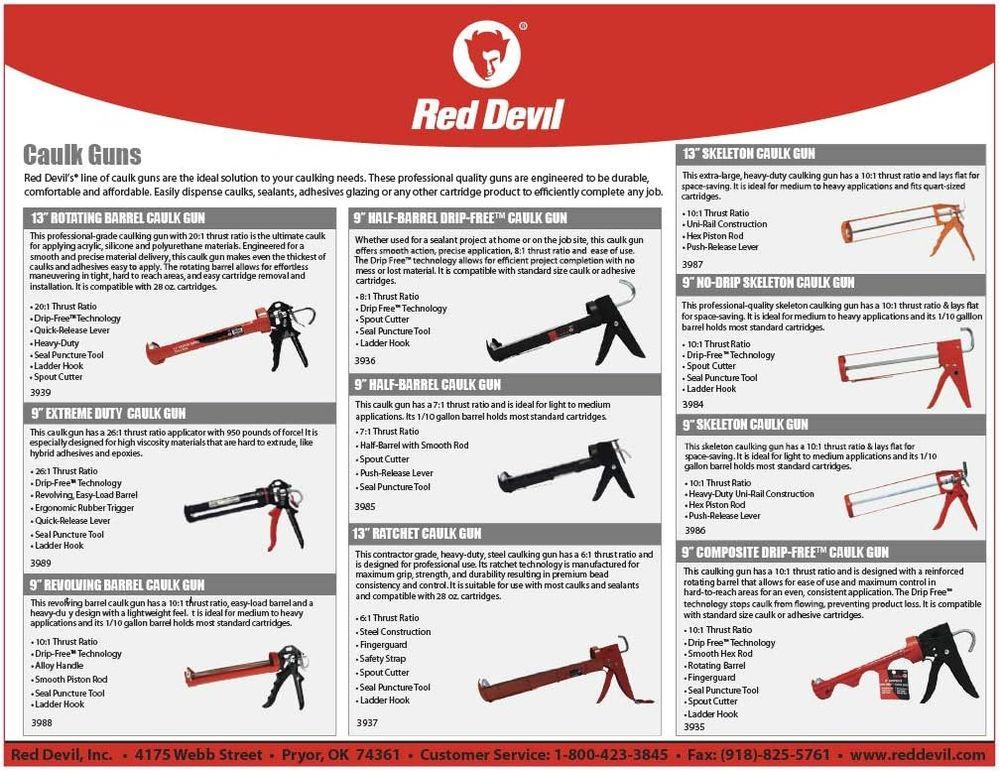 "Red Devil 3989 9"" Extreme Duty Caulk Gun - Thrust Ratio 26:1,Black"
