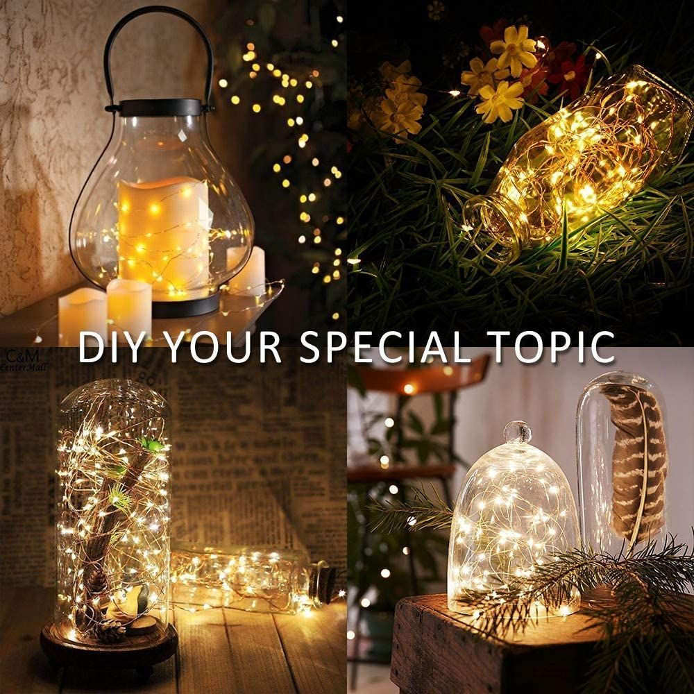 MUMUXI 24 Pack Fairy Lights Battery Operated, 7.2ft 20 LEDs Mini String Lights Waterproof Micro Starry LED Silver Wire Firefly Lights for DIY Mason Jars Wedding Party Christmas Decor, Cool White