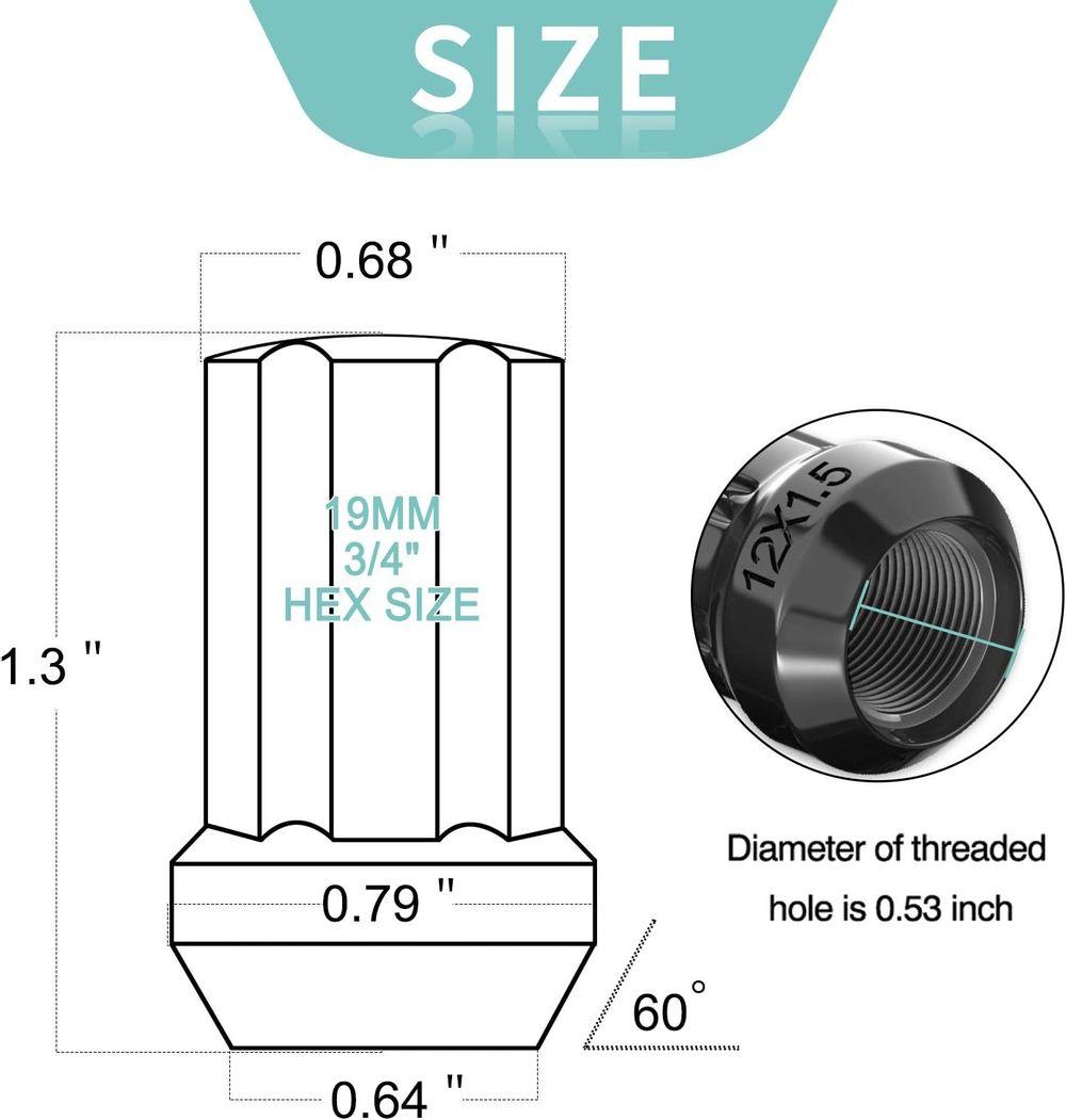 """LEDKINGDOMUS Lug Nuts 12x1.5 Black Open End, m12x1.5 Bulge Acorn Wheel Lug Nuts 1.3"""" Tall with 1 Key, 20 + 1PCS"""