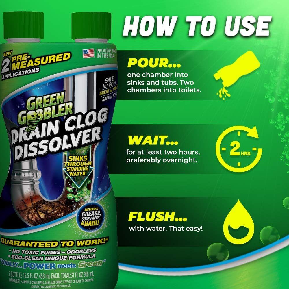 DISSOLVE Liquid Hair & Grease Clog Remover | Drain Opener | Drain cleaner | Toilet Clog Remover, 31 oz