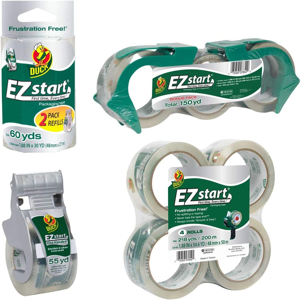 Duck Brand EZ Start Packaging Tape with Reusable Dispenser, 1.88 Inches x 30 Yards, Clear (393192)