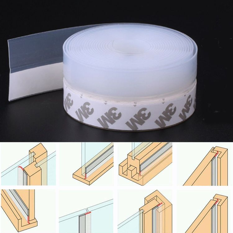 Weather Stripping Adhesive Silicone Door Draft Stopper Seal Strip for Door & Window,16 Ft, Translucence(35 mm-Width)