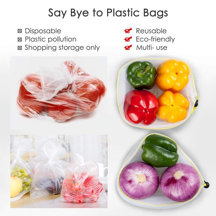 """Ecowaare 15 Pack Reusable Produce Bags, Premium Washable Mesh Bags for Grocery Shopping Fruit Vegetable Toys Storage, with Tare Weight - Small Size 12""""x8"""""""