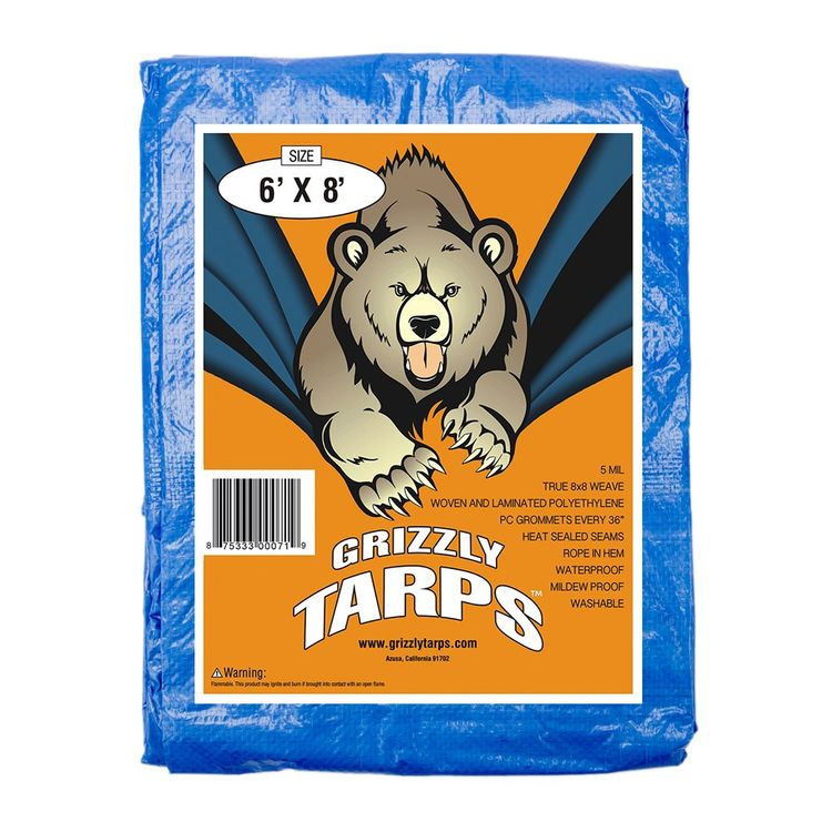 B-Air Grizzly Tarps 6 x 8 Feet Blue Multi Purpose Waterproof Poly Tarp Cover 5 Mil Thick 8 x 8 Weave