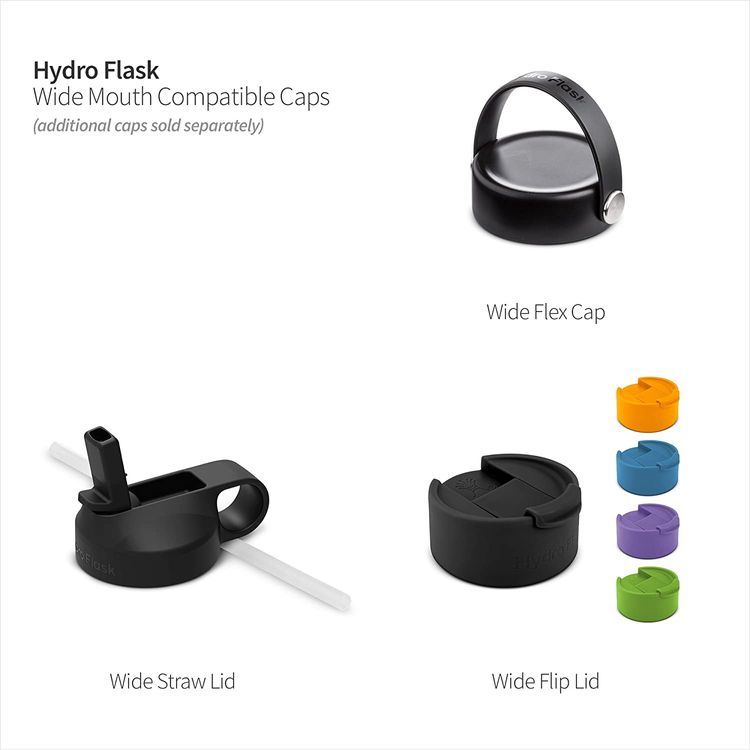 Hydro Flask Wide Mouth 1.0 Water Bottle, Straw Lid - Multiple Sizes & Colors