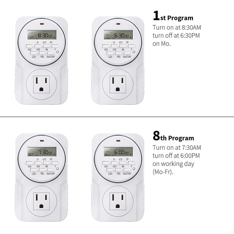 Brightown Outlet Timer with Photocell Light Sensor, Weatherproof 15A Heavy Duty Mechanical Timer, UL Listed, Great for Indoor & Outdoor Christmas String Lights, Patio, Home (Indoor Timer-1 Pack)