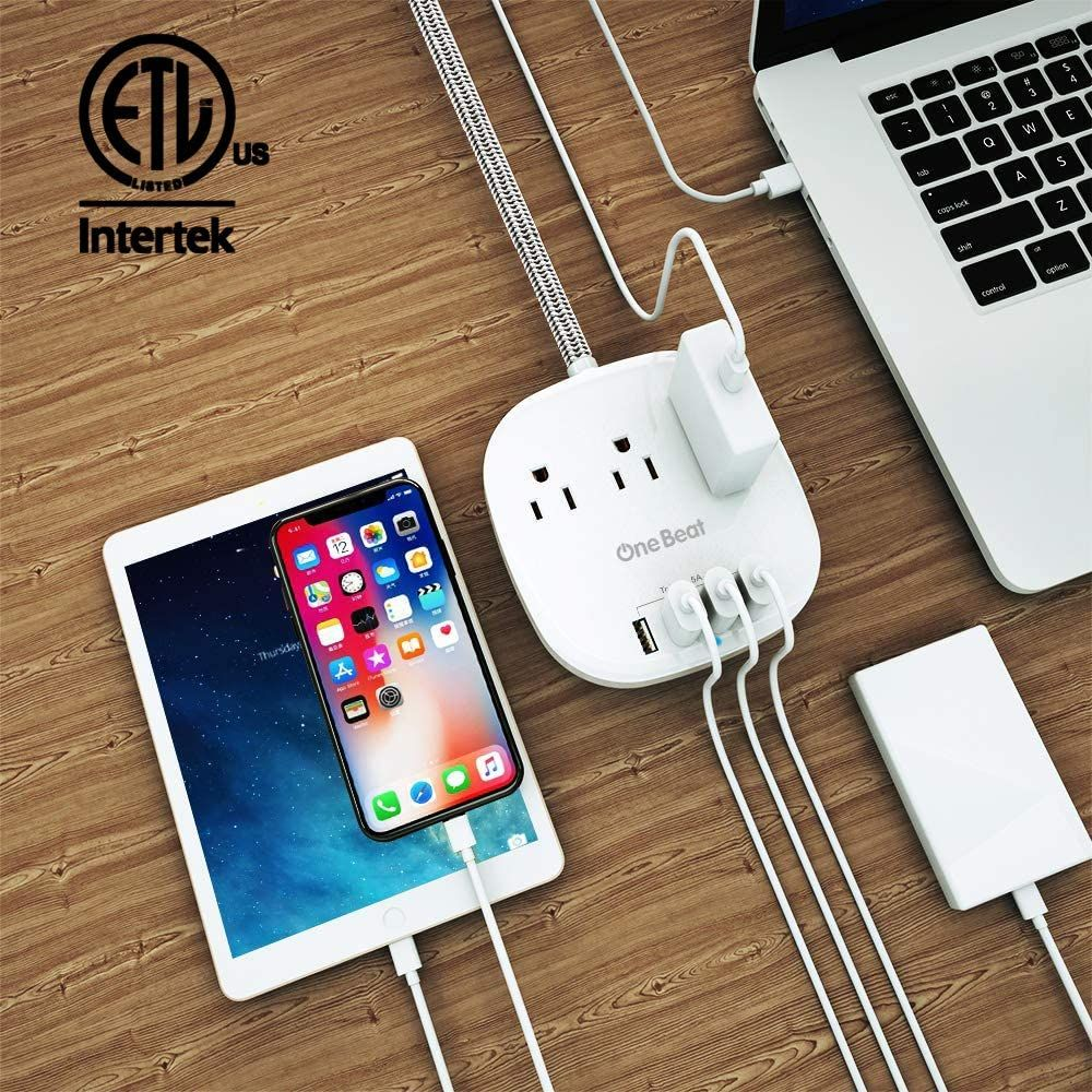 Desktop Power Strip with 3 Outlet 4 USB Ports 4.5A, Flat Plug and 5 ft Long Braided Extension Cords for Cruise Ship Travel Home Office, ETL Listed, White