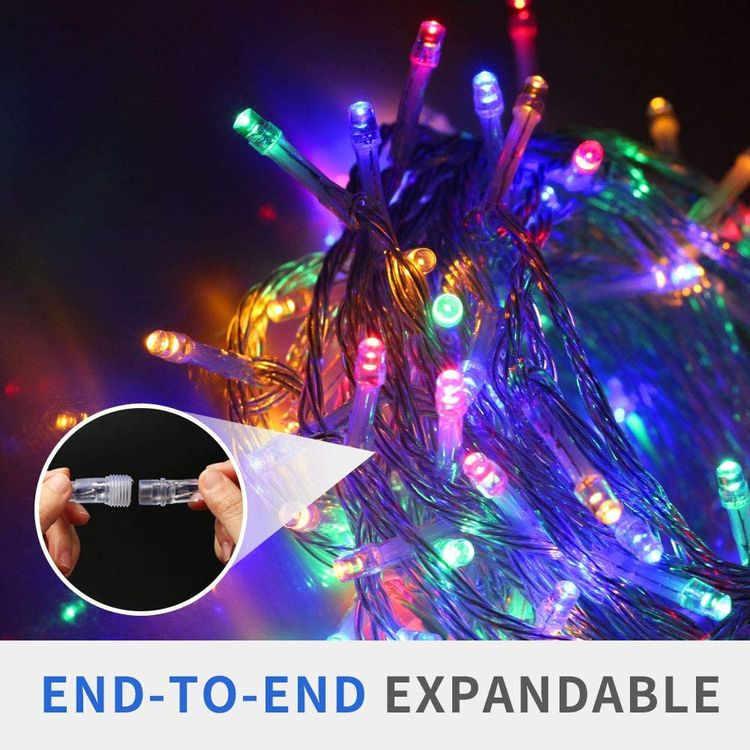 VTECHOLOGY Christmas String Lights, 33FT 100 LEDs Indoor String Lights Plug in 8 Modes Fairy Lights Decoration for Indoor Outdoor, Blue (Clear Wire)