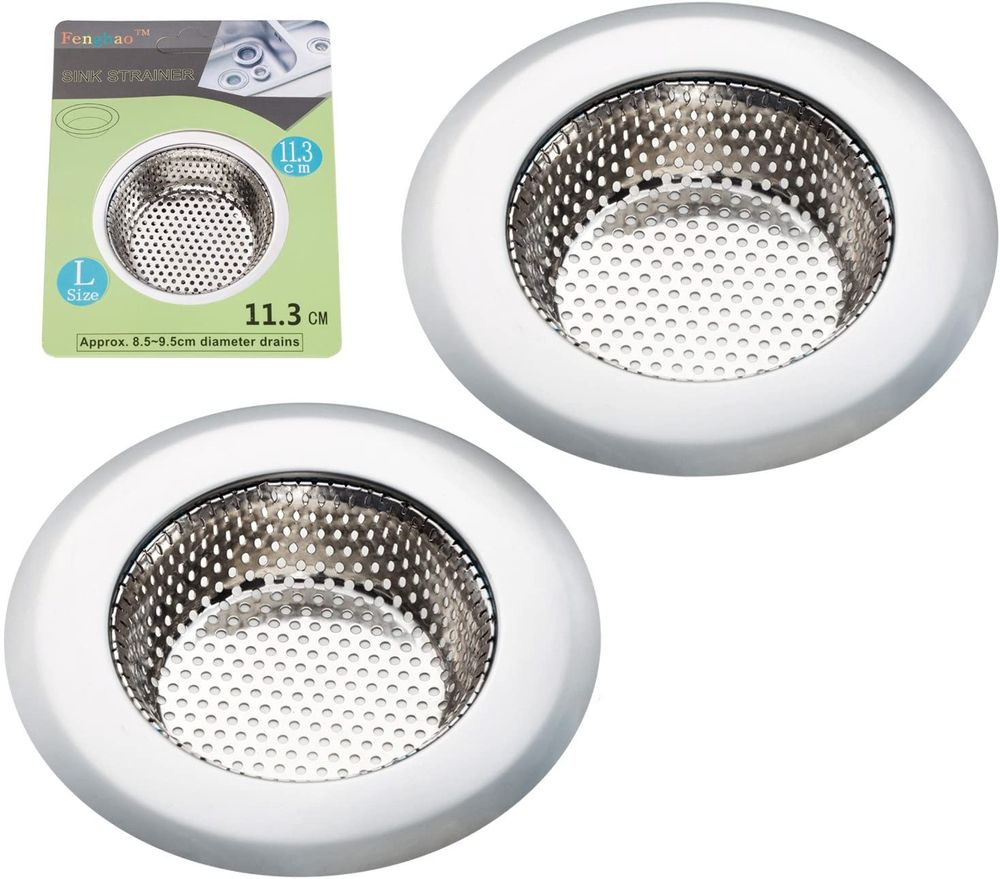 """Fengbao 2PCS Kitchen Sink Strainer - Stainless Steel, Large Wide Rim 4.5"""" Diameter"""