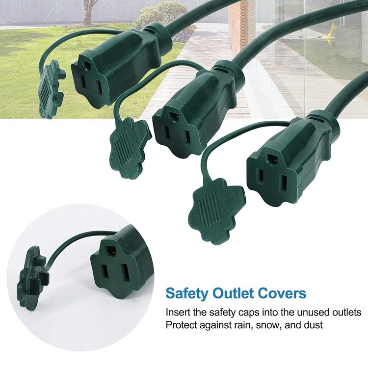 DEWENWILS Outdoor Extension Cord 1 to 3 Splitter, 3 Prong Outlets Plugs, 25 Feet (Max 13ft Each Line) 16/3C SJTW Weatherproof Wire for Outdoor Lights and Multiple Appliances, ETL Listed, Green