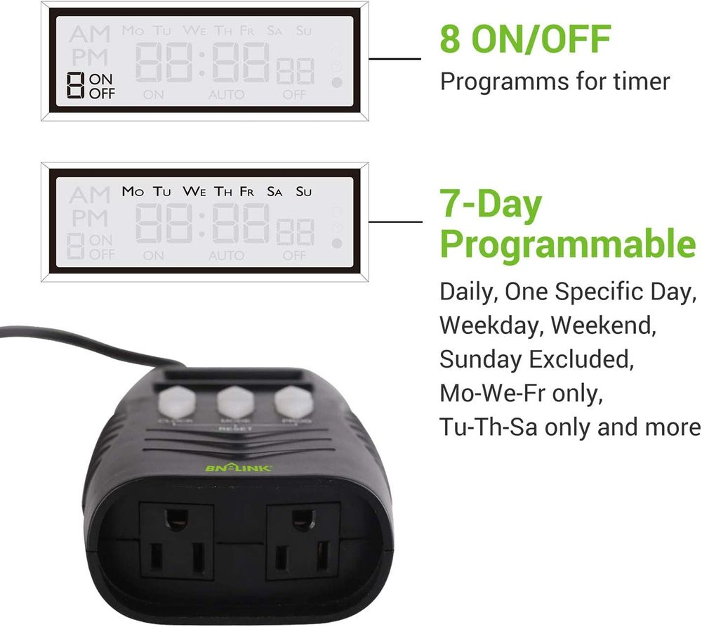 BN-LINK 7 Day Outdoor Heavy Duty Digital Programmable Timer BND/U78, 125VAC, 60Hz, Dual Outlet, Weatherproof, Heavy Duty, Accurate For Lamps Ponds Christmas Lights 1875W 1/2HP ETL Listed