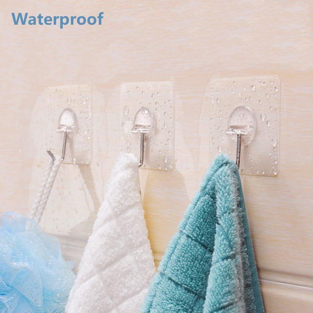 JINSHUNFA Wall Hooks 13lb(Max) Transparent Reusable Seamless Hooks,Waterproof and Oilproof,Bathroom Kitchen Heavy Duty Self Adhesive Hooks,8 Pack