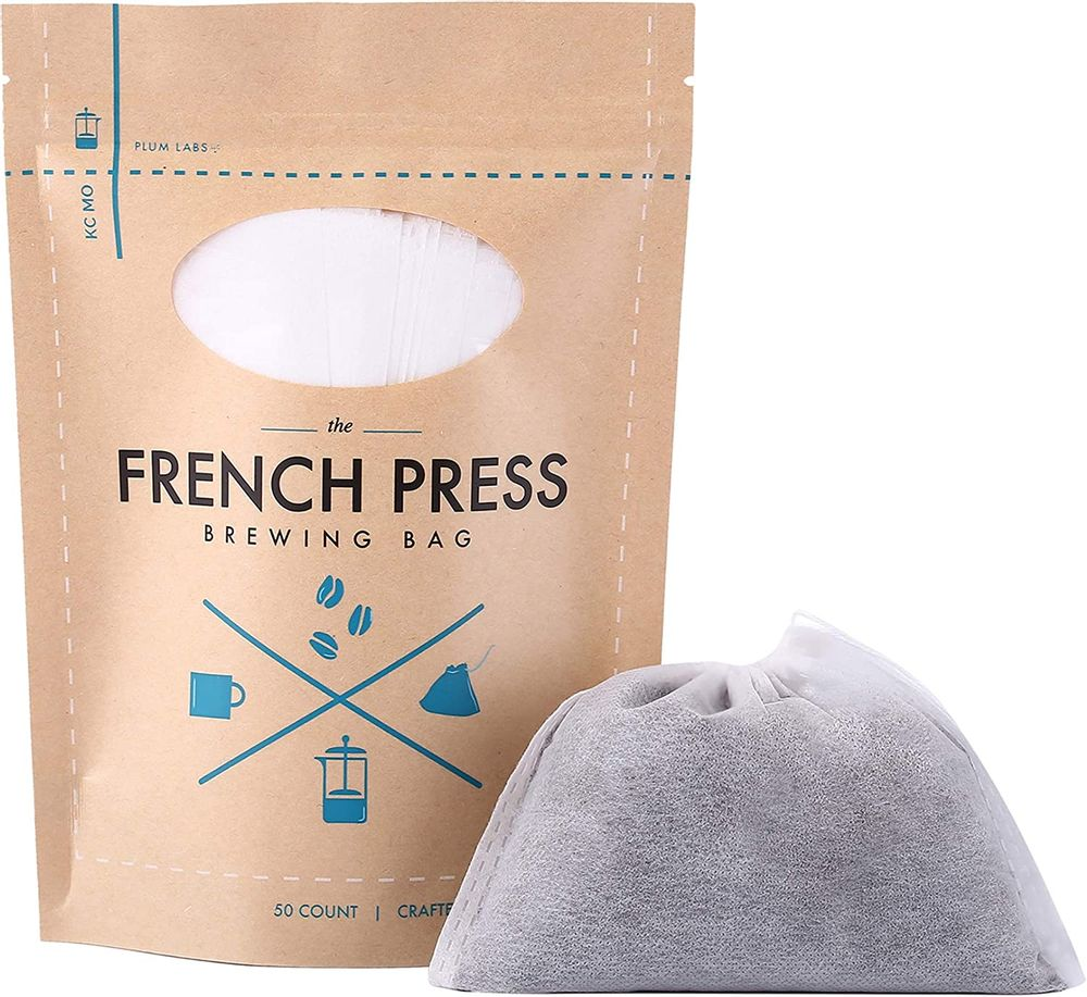 "The Original French Press Brewing Bags - 50 Easy Fill Fine Mesh Disposable Coffee Filters For Your French Press Coffee Maker - Perfect for Mason Jar Cold Brew, Beer Hops, Tea, Spice Sacks 6""x4"" White"