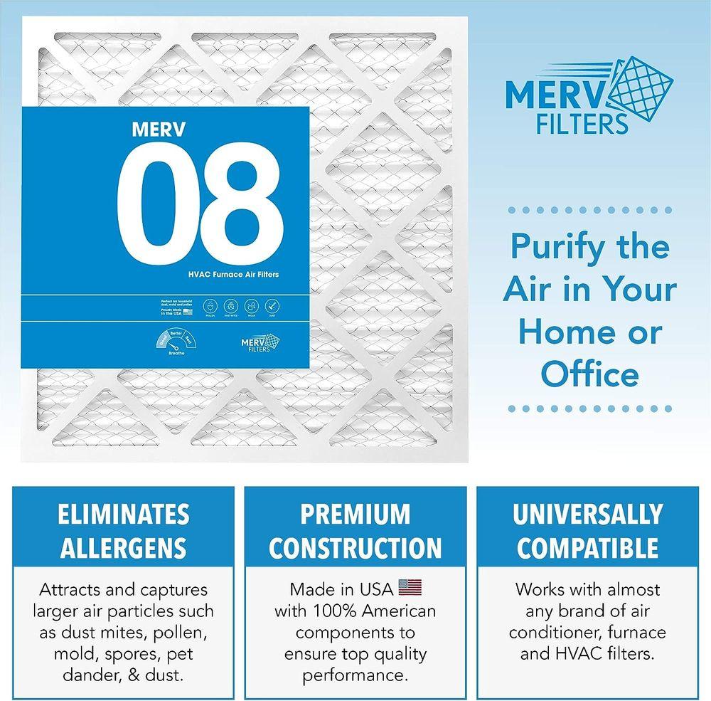 MervFilters 10x10x1 Air Filter, MERV 8, MPR 600-6 Pack of AC Furnace Air Filters