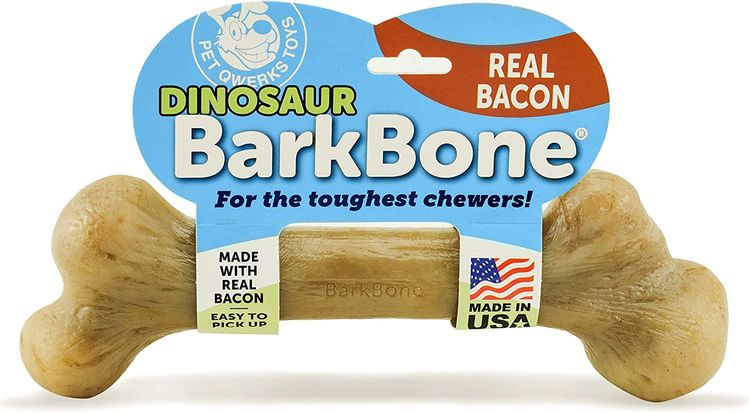 Pet Qwerks Dinosaur BarkBone with Real Bacon Dog Chew Toy for Aggressive Chewers, Made in USA