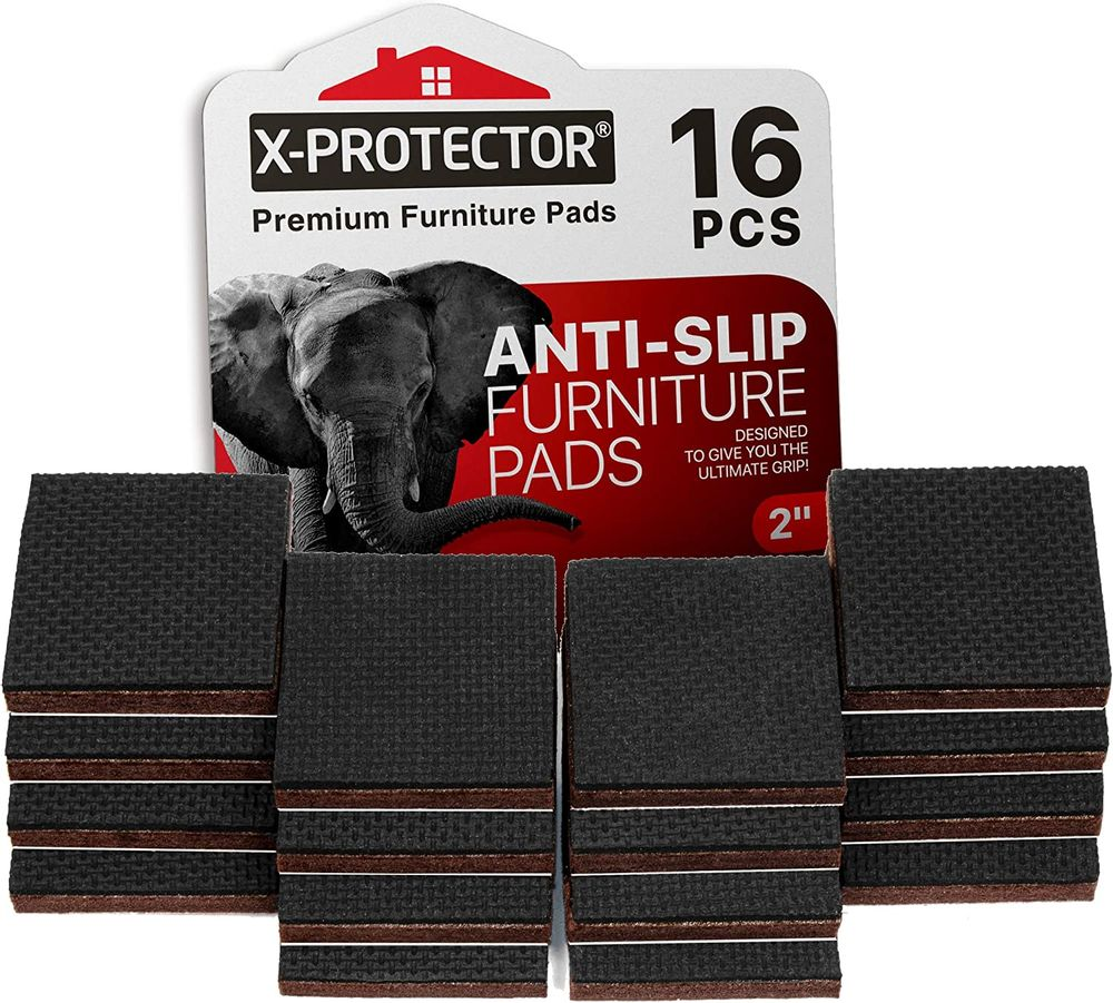 """X-PROTECTOR NON SLIP FURNITURE PADS – PREMIUM 16 pcs 2"""" Furniture Grippers! Best SelfAdhesive Rubber Feet Furniture Feet – Ideal Non Skid Furniture Pad Floor Protectors for Fix in Place Furniture"""