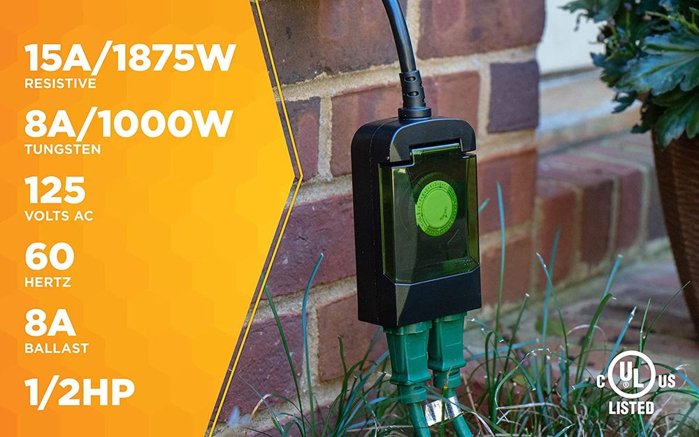Woods 50011 Outdoor 24-Hour Plug-in Mechanical Timer with 2 Grounded Outlets, Energy Saving, Quick Tool Free, Weatherproof Housing, Programmable Settings, 6-Inch Cord, Black