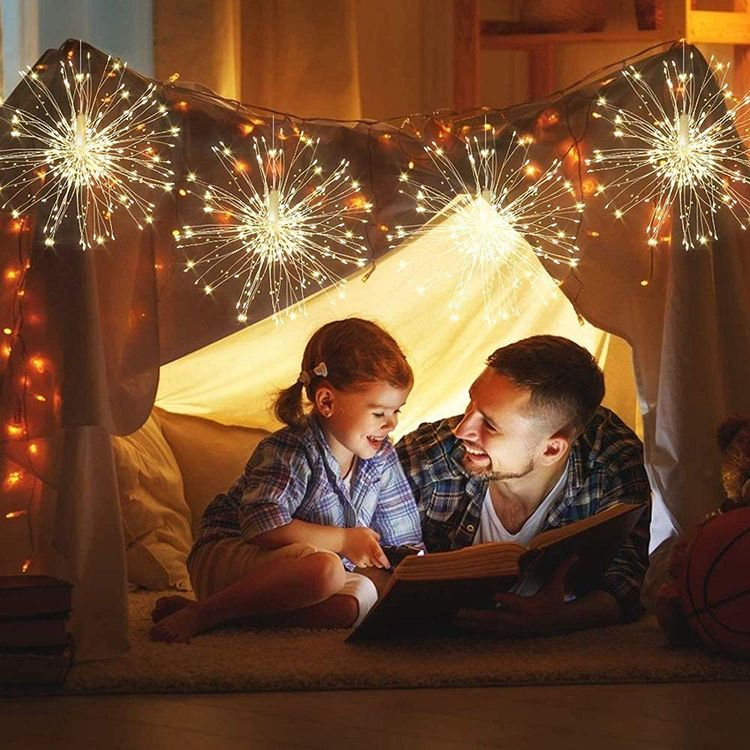 Haliluya 4 Pack Firework Hanging Lights,120 LED 8 Modes Battery Operated Fairy Starburst String Christmas Lights with Remote, Waterproof Decorative Lights for Patio Party Garden Indoor & Outdoor