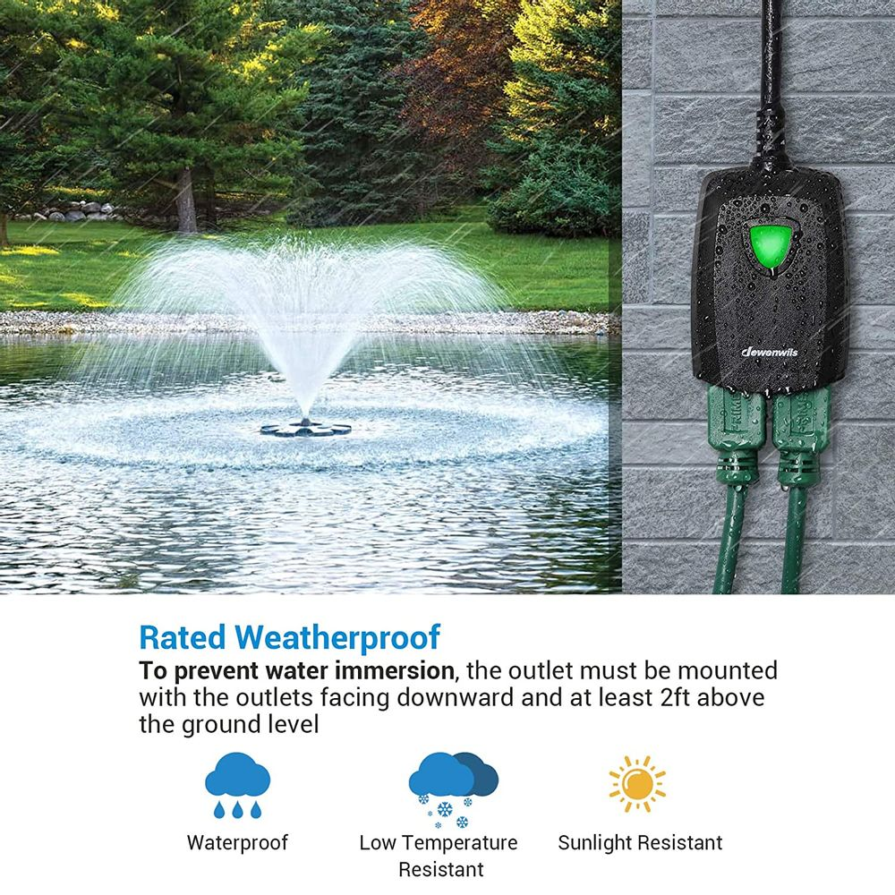 DEWENWILS Outdoor Indoor Remote Control Outlet Power Strip Weatherproof, Expandable Wireless Electrical Plug in Light Switch, 15 AMP Heavy Duty, 7-Inch Extension Cord, 100 FT Range, ETL Listed, Black