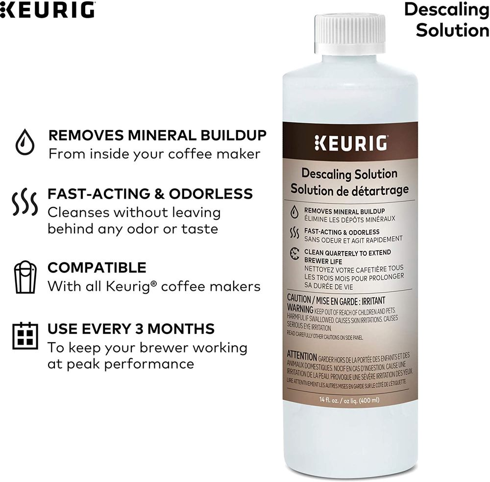 Keurig Brewer Cleaner Includes 14 oz. Descaling Solution, Compatible Classic/1.0 & 2.0 K-Cup Pod Coffee Makers