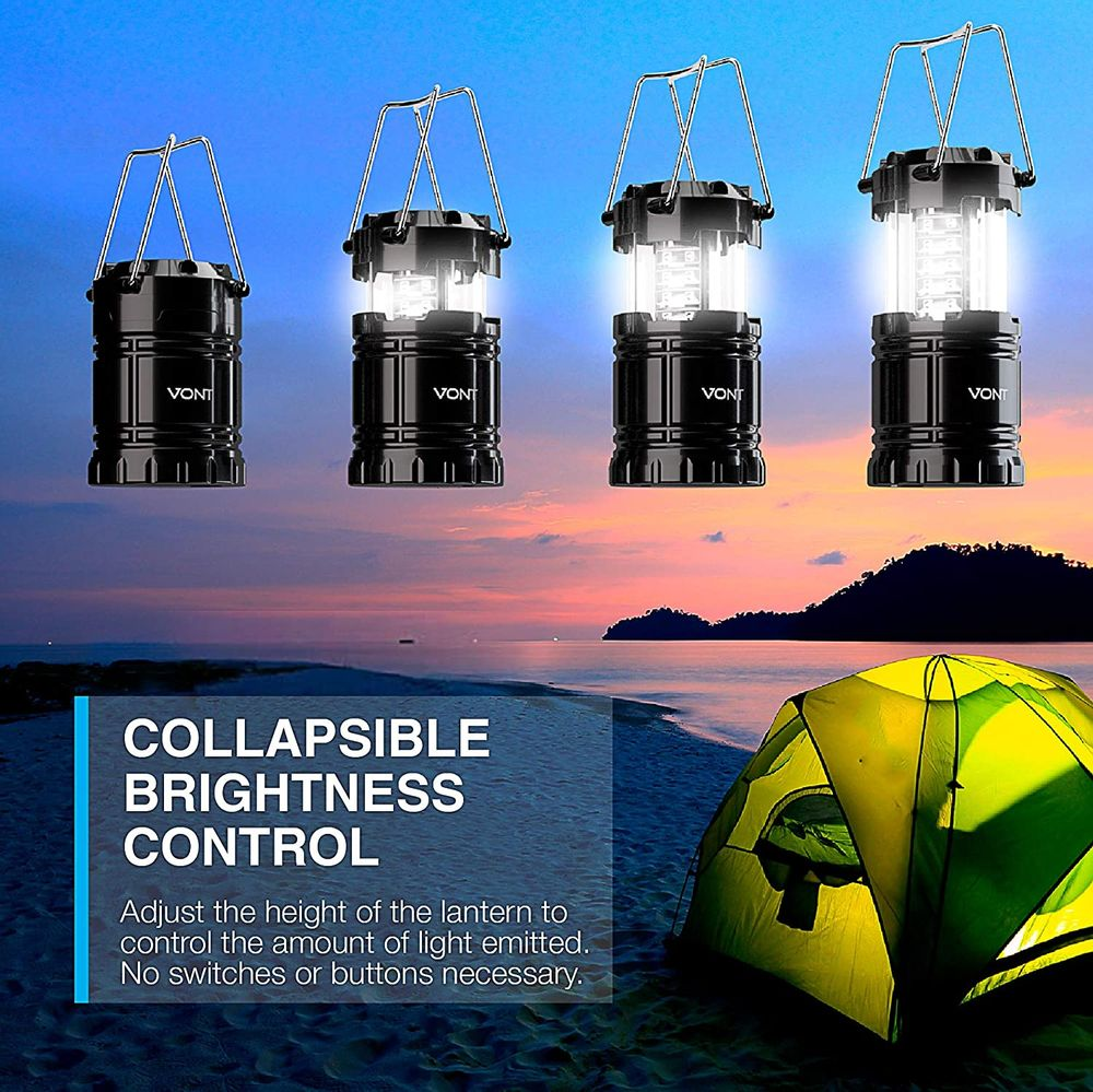 Vont 2 Pack LED Camping Lantern, Super Bright Portable Lanterns, Must Have During Hurricanes, Emergencies, Storms, Outages, Original Patented Collapsible Camping Lights/Lamp (Includes Batteries)