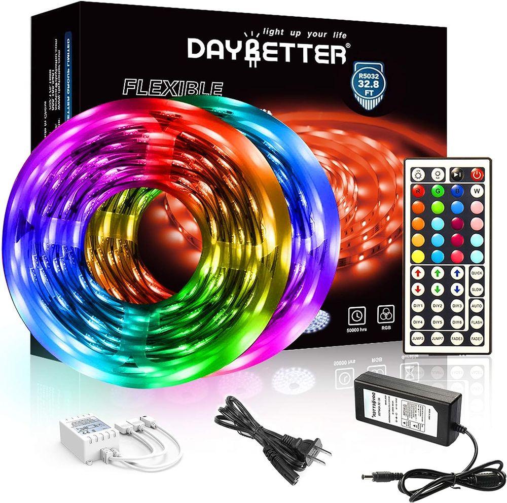 DAYBETTER Led Strip Lights 32.8ft 5050 RGB LEDs Color Changing Lights Strip for Bedroom, Desk, Home Decoration, with Remote and 12V Power Supply