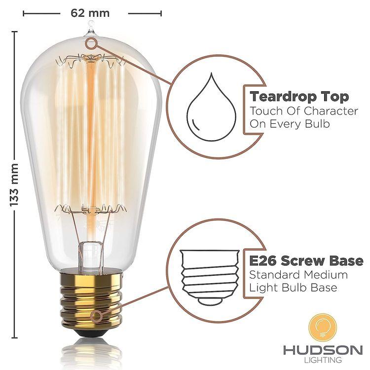 1 Pack - 60 watt Vintage Edison Bulb - Squirrel Cage Filament - 120 Volts - Dimmable - 230 Lumens - 2700k - E26 - ST58 Teardrop Top