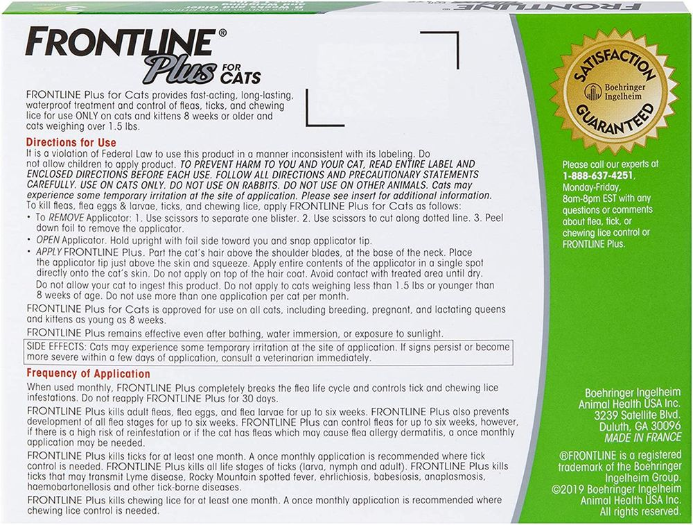 Frontline Plus for Cats and Kittens (1.5 pounds and over) Flea and Tick Treatment, 3 Doses